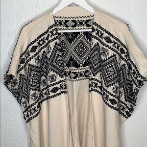 Woven Full Length Poncho Cream/Black/Silver OS